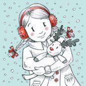 Snowy Girl. Blue