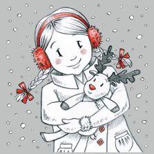 Snowy Girl. Grey