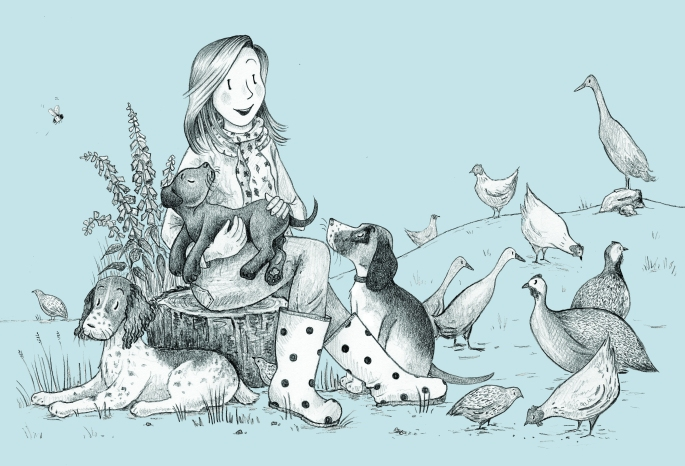 Jenny with dogs and birds